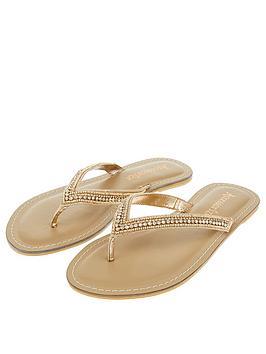 Accessorize Kim Sparkle Thong Flip Flop - Rose Gold