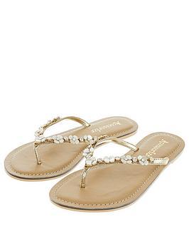 Accessorize Pearl Flower Flip Flop - Gold