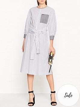 karl-lagerfeld-striped-poplin-cotton-dress-whiteblack