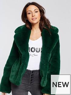 michelle-keegan-short-faux-fur-coat-green