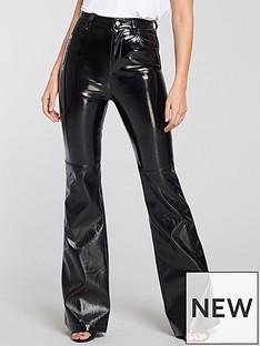 michelle-keegan-wide-leg-vinyl-trouser-black