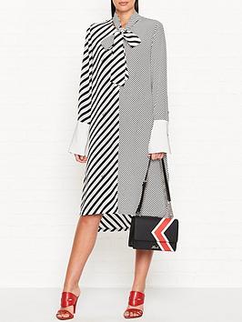 karl-lagerfeld-mix-stripe-silk-shirt-dress-blackwhite