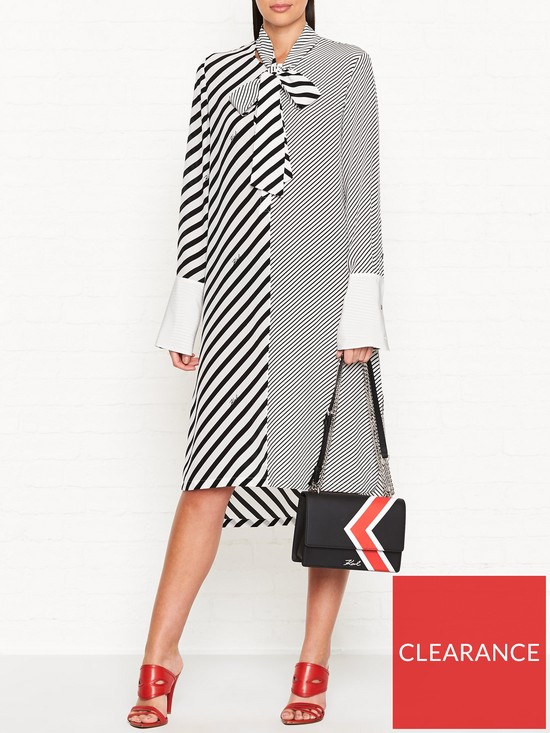 f5e1a678a3 KARL LAGERFELD Mix Stripe Silk Shirt Dress - Black White