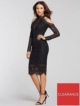 michelle-keegan-cold-shoulder-lace-pencil-dress-black