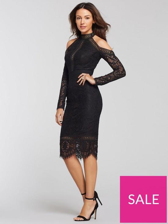 08f09cf92664 Michelle Keegan Cold Shoulder Lace Pencil Dress - Black | very.co.uk
