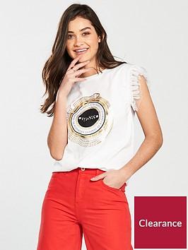 river-island-river-island-frill-sleeve-foil-print-t-shirt