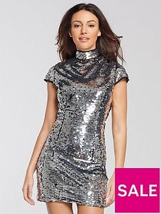 801e592599563 Michelle Keegan Sequin Bodycon Dress - Silver