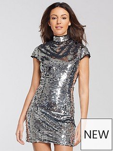 michelle-keegan-sequin-shift-dress-silver
