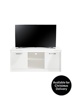 Consort Indy Ready Assembled Gloss TV Unit with LED Lights - White - fits up to 55 inch TV