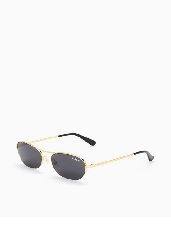 bf430d2c39 VOGUE Micro Oval Brow Bar Sunglasses - Black Gold