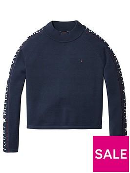 tommy-hilfiger-girls-logo-mock-sweater-navy