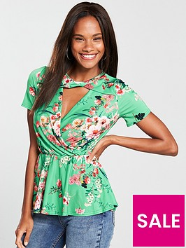 v-by-very-printed-twist-neck-top-floral