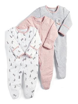 mamas-papas-baby-girls-3-pack-flower-print-sleepsuits