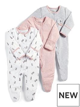 mamas-papas-baby-girls-3-pack-flower-print-sleepsuits