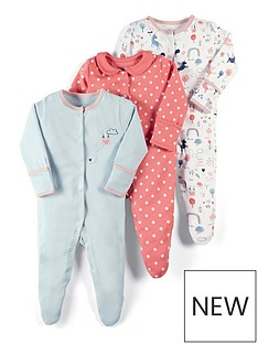 mamas-papas-baby-girls-3-pack-unicorn-sleepsuits