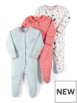 mamas-papas-baby-girls-3-pack-unicorn-sleepsuits