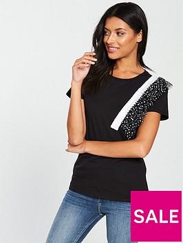 v-by-very-ruffle-mesh-polka-dot-t-shirt-black