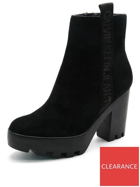 96210eb60510 Calvin Klein Serina Suede Block Heel Ankle Boot - Black