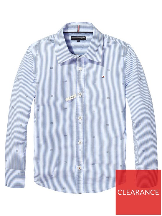 b9ed23df0 Tommy Hilfiger Boys Oxford Stripe Print Shirt - Blue | very.co.uk