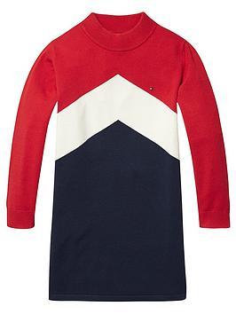 tommy-hilfiger-girls-chevron-sweat-dress-red