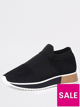 river-island-knit-slip-on-trainers-black
