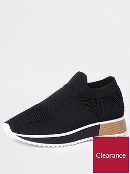 river-island-knit-slip-on-trainers-black