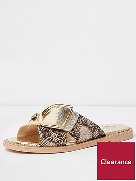 river-island-wide-fit-cross-strap-buckle-slider-gold