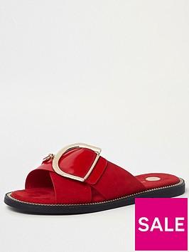river-island-cross-strap-buckle-slider-red