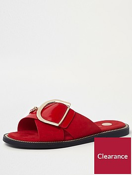 river-island-cross-strap-buckle-slider-red