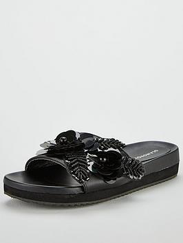 Glamorous Floral Slider - Black