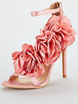 Glamorous Floral Heeled Sandal - Pink