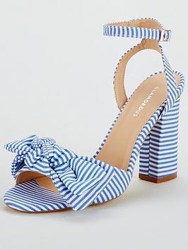 Glamorous Stripe Block Heeled Sandal - Blue