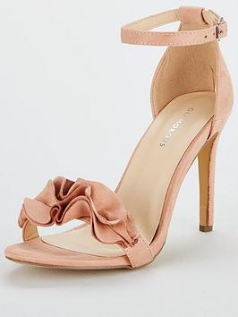 Glamorous Ruffle Heeled Sandal - Dusty Pink