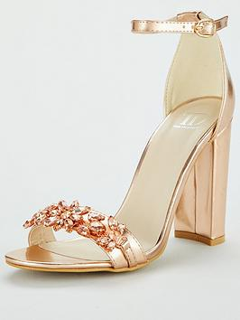 Glamorous Jewelled Barely There Heeled Sandal - Rose Gold