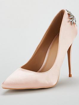 Glamorous Jewelled Heeled Court Shoe - Light Pink