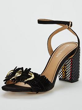 Glamorous Buckle Block Heeled Sandal - Black