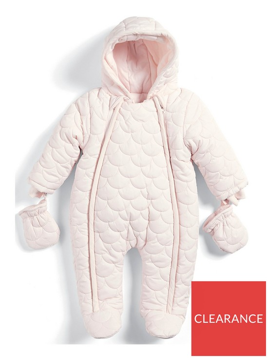 42f201e93f9e Mamas   Papas Baby Girls Pink Quilted Pramsuit