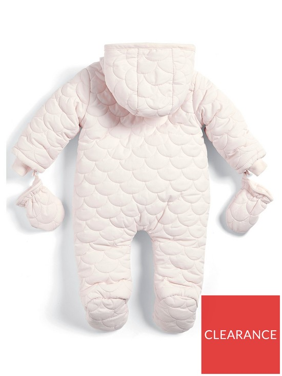 60adf0cb3 Mamas   Papas Baby Girls Pink Quilted Pramsuit