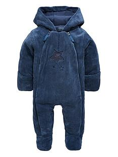 mamas-papas-baby-boys-blue-faux-fur-pramsuit