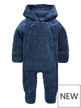 mamas-papas-baby-boys-blue-faux-fur-pramsuit
