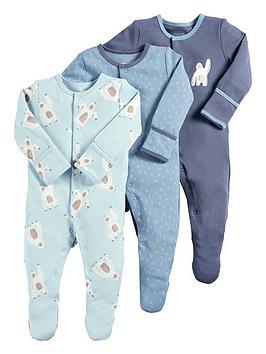 mamas-papas-baby-boys-3-pack-yeti-sleepsuits