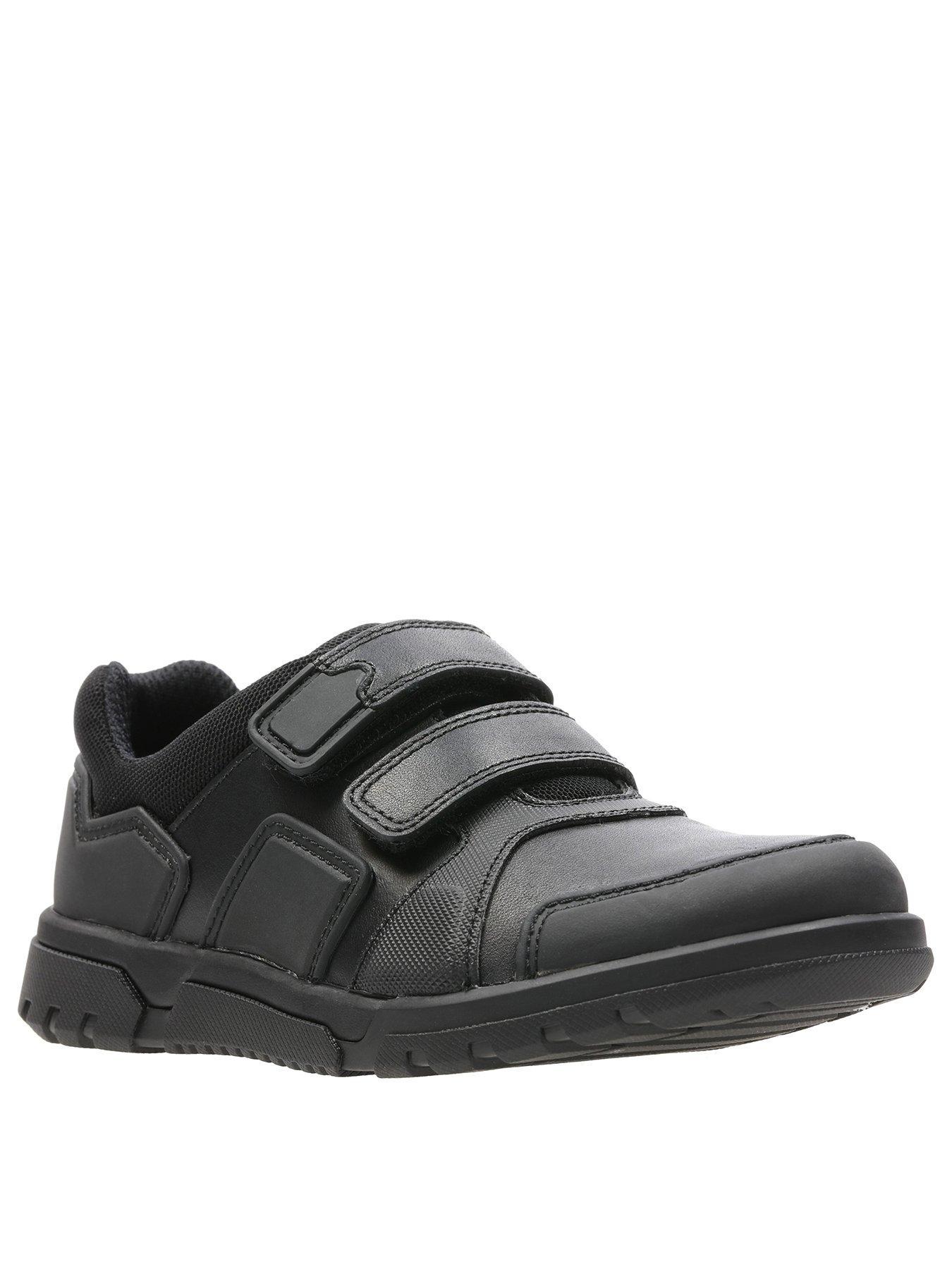 Boys Clarks Black Leather Hook /& Loop Strap Formal School Shoes BLAKE STREET