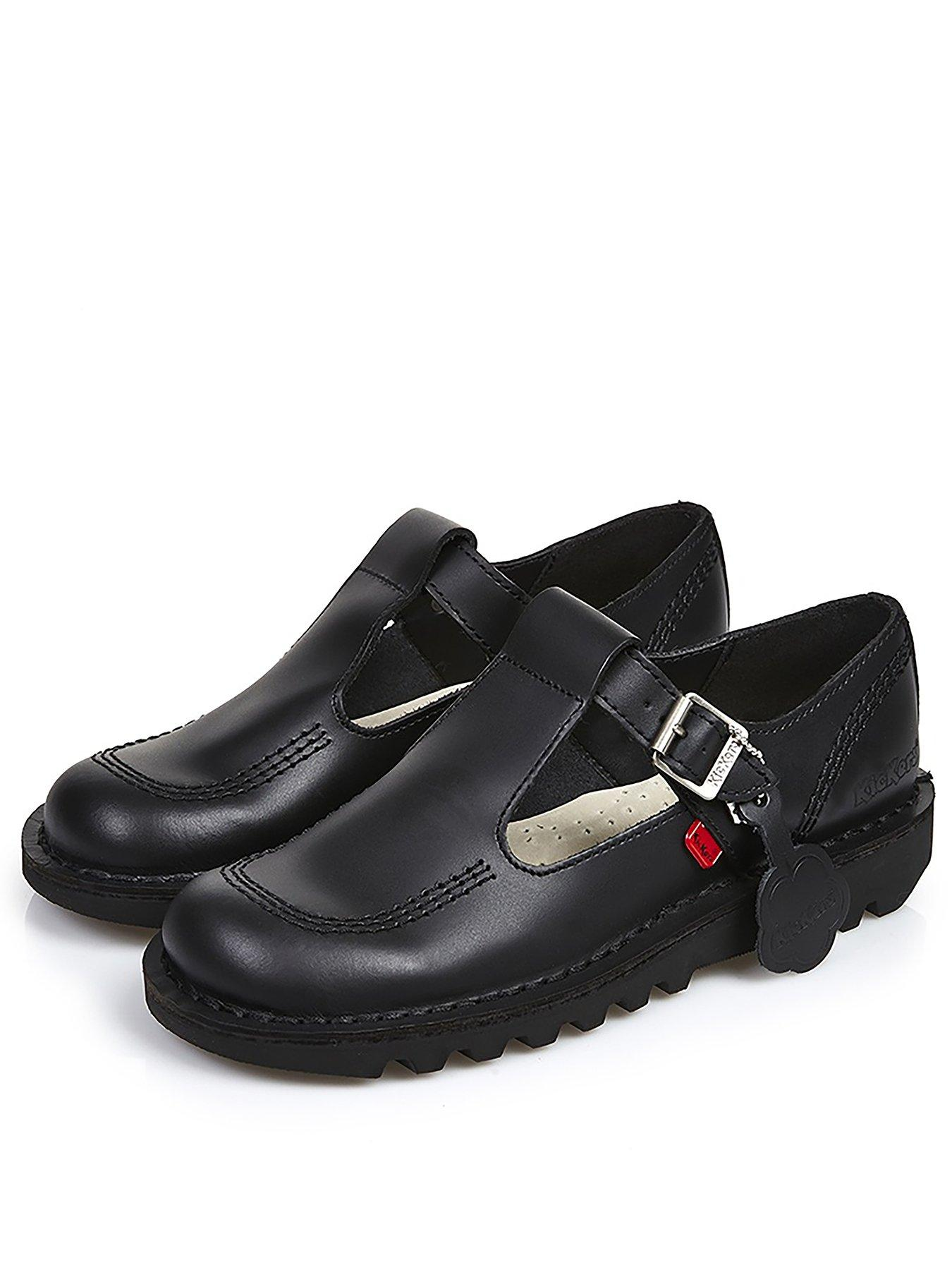 New Girls Kickers Black Fragma T-Bar Leather Shoes Flats