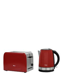 swan-stainless-steel-kettle-and-2-slice-toaster-twin-pack-red