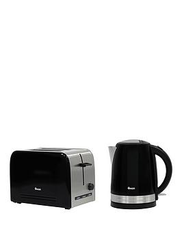 Swan Stainless Steel Kettle And 2-Slice Toaster Twin Pack - Black
