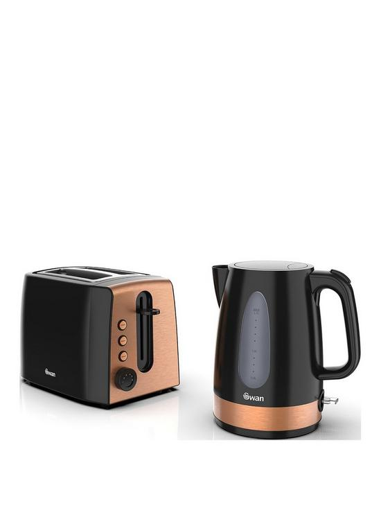 Kettle And 2 Slice Toaster Twin Pack Black And Copper