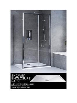 aqualux-aqx-6-square-sliding-door-shower-enclosure-and-aqua-25-tray-bundle-kit