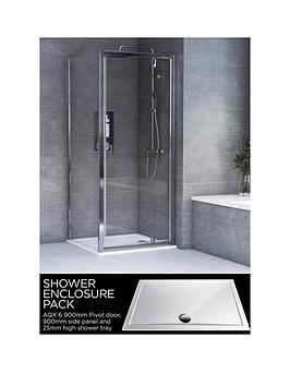 aqualux-aqx-6-square-pivot-door-shower-enclosure-and-aqua-25-tray-bundle-kit