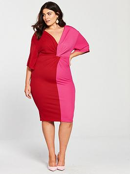 v by very curve kimono sleeeve knot front bodycon dress - pink/red