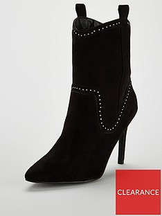 5f23d3ecf20f V by Very Faye Point High Heel Western Boot - Black